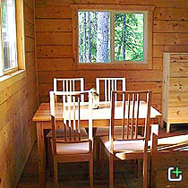 Nahanni Mountain Lodge cabin kitchen nook